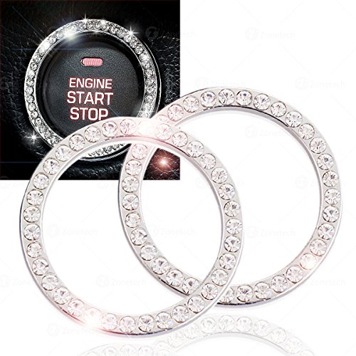 Chrystal Bling Ring Emblem Sticker- Zone Tech Rhinestone Start Engine- Ignition Button Car Key Knob-Interior Bling Push Button Auto- Decorative Decal Unique Silver Sparkly- Vehicle Rings Woman 2 ()