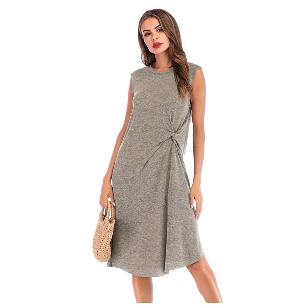 CARRY Dress, Summer European and American Women's Dress, Solid color, Simple Kinks, Long Skirt, Pleated Irregular Skirt, Female (Size   S)