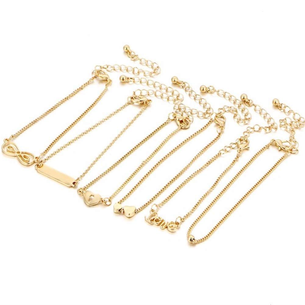 QIAMNI Bohemian 6pcs//Lot Love Lock Heart Infinity Sequins Link Chain Ankle Bracelet Summer Beach Accessories Gift