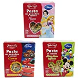 """Dalla Costa: """"Disney Pasta"""" Organic Durum Wheat Semolina Pasta (""""Cars"""", """"Mickey Mouse"""" and """"Princess"""" Themes) * 8.8 Ounce (250gr) Packages (Pack of 1 Each) * [ Italian Import ]"""