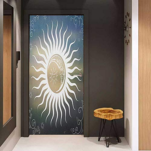 Door Sticker Sun Celestial Bodies Silhouette Geometric Elements Swirled Lines with Curves Ornamental Glass Film for Home Office W36 x H79 Multicolor