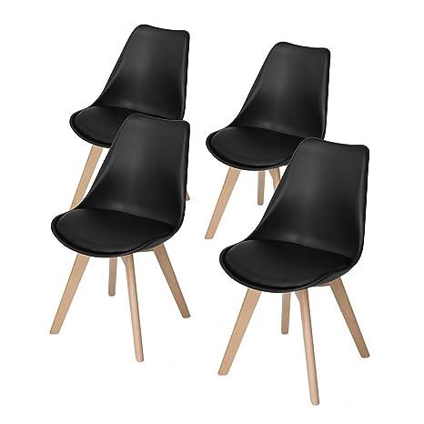 DORAFAIR Pack 4 sillas escandinava Estilo nórdico Silla de Comedor, con Las piernas de Madera de Haya Maciza y cojín cómoda,Negro
