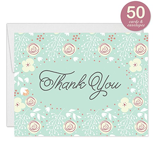 Mint Thank You Cards with Envelopes ( Pack of 50 ) Floral Wedding Thank You Notes Baptism Celebration Christening Naming Baby Shower Folded Thank You Excellent Value Notecards (Baptism Celebration)