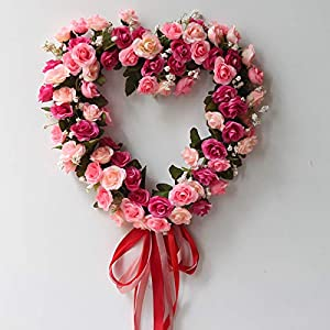 Artificial & Dried Flowers - Fake Silk Rose Flower Artificial Flowers Hanging Garland Wedding Wreath Heart Shaped Festival Party - Flowers Artificial Dried 3