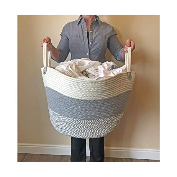 Breezy Baby XXXLarge Cotton Rope Basket 21.7″ x 21.7″ x 13.8″ Blanket Storage Basket with Large Handles | Decorative Clothes Hamper Basket | Extra Large Baskets for Blankets Pillows or Laundry