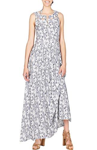 [2LUV Women's Printed Sleeveless Keyhole Cutout Neckline Long Summer Maxi Dress White L] (Sleeveless Printed Cut Out)
