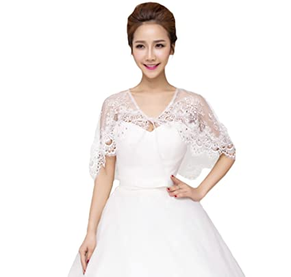 JUNGEN Chal de encaje para mujer, bolero de novia, para vestido de novia (
