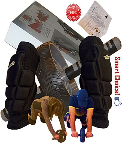 Abdominal+Machine Products : AB Roller Wheel and Knee Protectors Set for Abdominal Six Pack & Core Workout - Highly Cushioned Thick and Breathable Pads Pair to Support the Rollout Crunch Machine Training and Much More - PureGoal