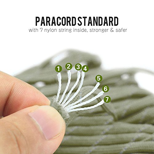 EOTW Military Grade Utility Necklace Paracord Lanyard Keychain Whistles Cord Wrist Strap Parachute Rope Badge Camera Cellphone Waterproof Case Holder with Metal Hook For Outdoor, [3 Pack] Black+Olive