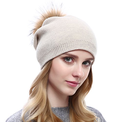 Women Knit Wool Beanie - Winter Fashion Solid Wool Hats Real Removable Raccoon Fur Pom Pom Warm Ski Beanie (Beige),One Size]()