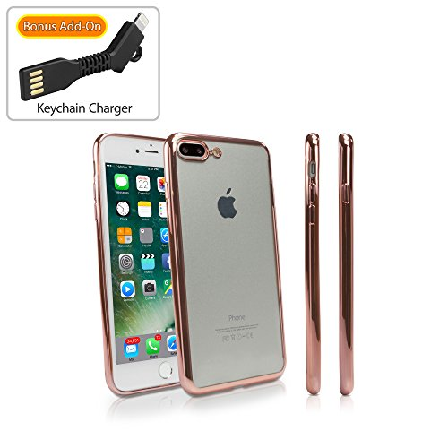 (Apple iPhone 7 Plus Case, BoxWave [GlamLux Case with BONUS Keychain Charger] Durable Case with Metallic Colored Trim for Apple iPhone 7 Plus - Rose Gold)