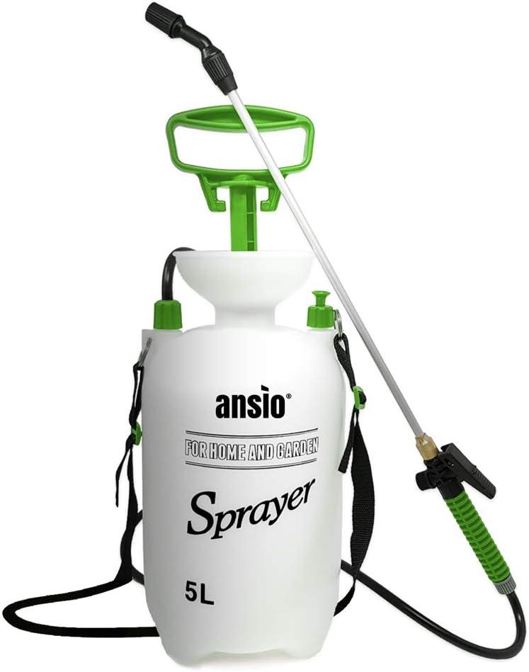 ANSIO Pulverizador Presion 5litros,Pulverizador Agua, Jardin Pulverizador Plantas Ideal for Herbicida, de Malas Hierbas -Manual Bomba Pulverizador
