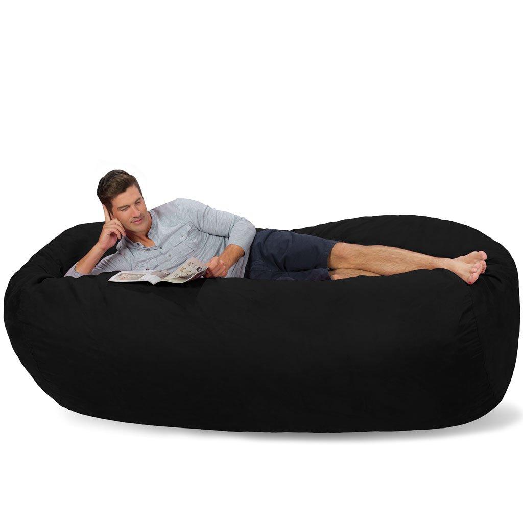 Comfy Sacks 7.5 ft Lounger Memory Foam Bean Bag Chair, Jet Black Cords by Comfy Sacks