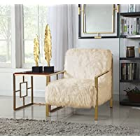 Iconic Home Bayla Accent Side Chair Sleek Stylish Faux Fur Brushed Brass Finished Stainless Steel Frame, Cream