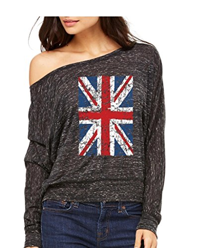 UK Flag England Long-Sleeve Union Jack Vintage United Kingdom Flowy Shirt Medium Black Marble f12 (Womens Vintage T Shirts British compare prices)