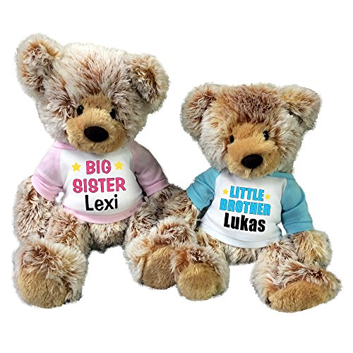 Personalized Big Sister / Little Brother Teddy Bears - Set of 2 Caramel (Little Brother Teddy Bear)