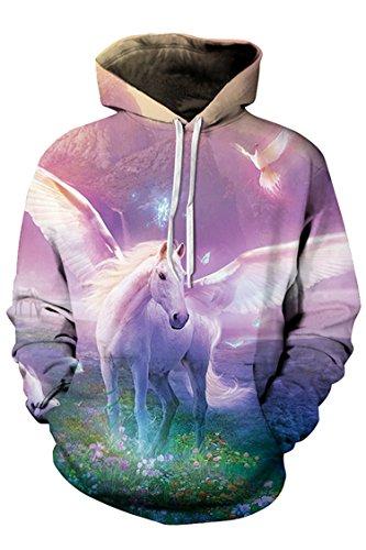 Kisscynest Unisex Horse 3D Printed Big Pocket Hooded Sweatshirt Casual Pullover Hoodie XL