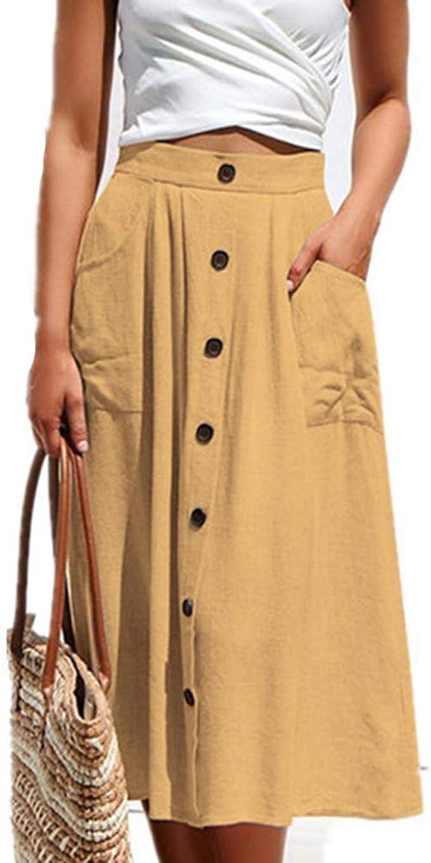 Honghu Faldas Acampanadas de Mujer Cuello en línea Falda Midi de ...