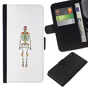 EJOY---La carpeta del tirón la caja de cuero de alta calidad de la PU Caso protector / Sony Xperia Z2 D6502 / --Esqueleto anatomía Médico