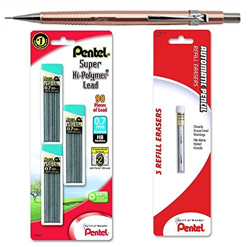 Pentel Sharp P207MY Mechanical Pencil, Metallic Rose Gold, 0.7 mm, with Lead and Eraser Refills (Bundle) -