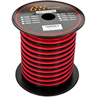 GS Powers 10 Ga Gauge 50 feet CCA Copper Clad Aluminum Red / Black 2 Conductor Bonded Zip Cord Power / Speaker Cable for Car Audio, Home Theater, LED strip Light