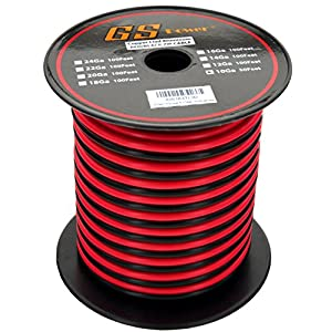 GS Power's 10 Ga Gauge 50 feet CCA Copper Clad Aluminum Red / Black 2 Conductor Bonded Zip Cord Power / Speaker Cable for Car Audio, Home Theater, LED strip Light