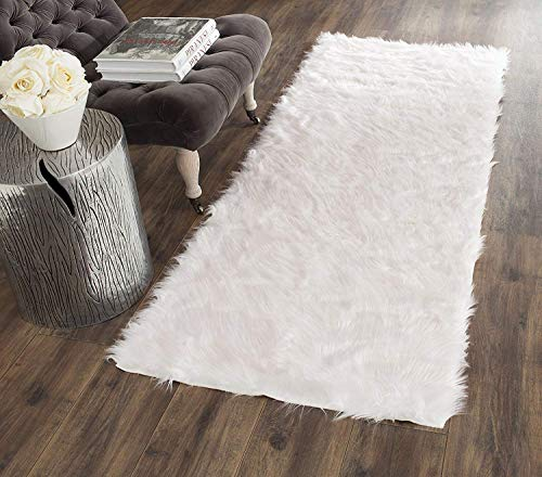 (Pinkday Faux Sheepskin Area Rug Classic Rectangle Sheepskin Area Rug Plush Premium Shag Faux Fur Shag Runner (2'6''x8)