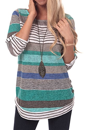 ModMod Womens Striped Tunic Blouse Top, Long Sleeves Roll Tab, Casual Comfort Knit Stretch Fabric (Medium, Sea (Stretch Knit Blouse)