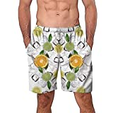 NUWFOR Men Casual 3D Graffiti Printed Beach Work Casual Men Short Trouser Shorts Pants(White,US:S Waist27.6-31.5'')