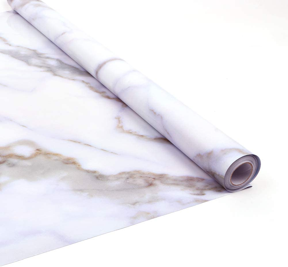 """YIZUNNU Vinyl 3D Marble Self Adhesive Contact Paper 24""""x197"""", Peel and Stick Rolls Waterproof Wallpaper Wall Sticker Home Kitchen Wall Cabinet Decoration"""