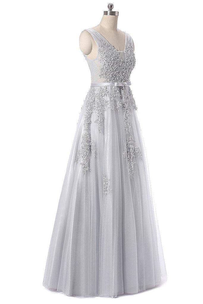 YSFS Womens V-neck Long Evening Dress Tulle Lace Prom Dress 2017: Amazon.co.uk: Clothing