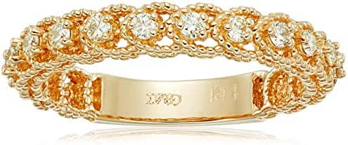 14k Twisted Gold Diamond Stackable Ring (1/3cttw, I-J Color, I1 Clarity)
