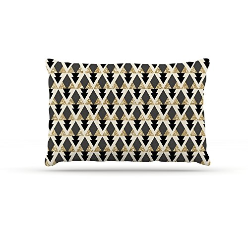 Kess InHouse Nika Martinez Glitter Triangles  Geometric Fleece Dog Bed, 50 by 60 , gold Black
