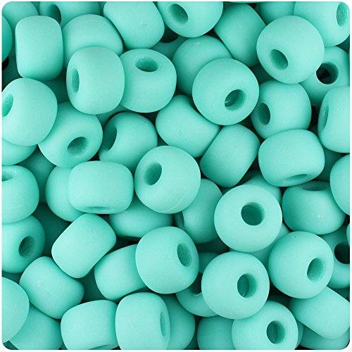 BeadTin Light Turquoise Matte 11mm Large Barrel Pony Beads (250pcs)