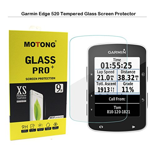 MOTONG Garmin Edge 520 Screen Protector - MOTONG LCD Tempered Glass Screen Protector For Garmin Edge 520,9 H Hardness,0.3mm Thickness,Made From Real Glass