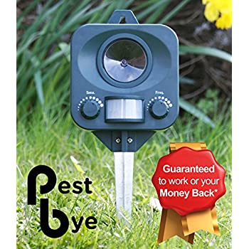 Pestbye Battery Operated Electronic Ultrasonic Outdoor Garden Cat Repeller Repellent Scarer