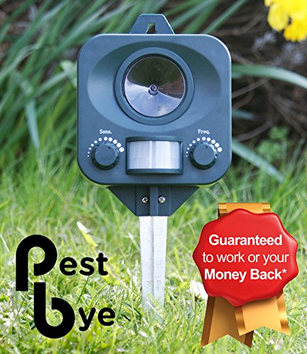 Pestbye Battery Operated Electronic Ultrasonic Outdoor Garden Cat Repeller Repellent Scarer (Ultrasonic Cat)