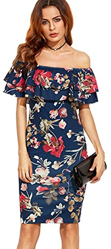 Skirt Dress Fit Patterned Long Blue Women's Cocktail Sexy Slim Party Strapless 07xwWqgnaF