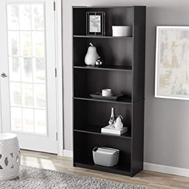 Mainstay` Orion Wide 5-Shelf Bookcase (Black, 5-Shelf) (Black, 5-Shelf Standard)
