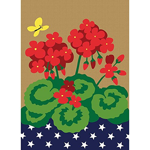 Bright Red Geraniums Starry American Flag 13 x 18 Rectangular Small Garden Flag