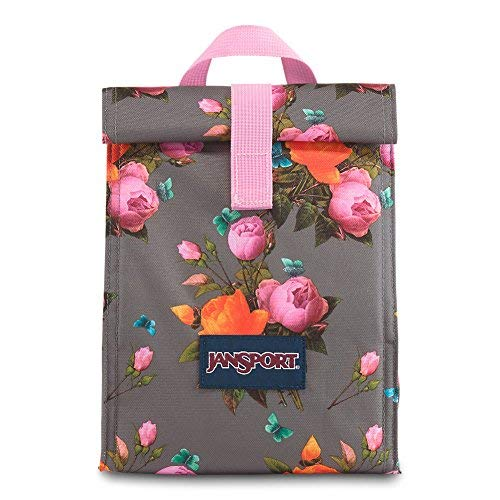 JanSport Rolltop Lunch Bag - Sunrise Bouquet Grey - Insulated, Spill-Resistant