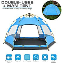 BATTOP 4 Person Tent [Double-Uses] Instant Pop Up Family Camping Tent - Double Layer - Waterproof - 4 Season Backpacking Tent