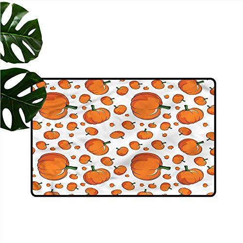 DUCKIL Modern Door mat Harvest Halloween Plump Pumpkin with Anti-Slip Support W31 xL47]()