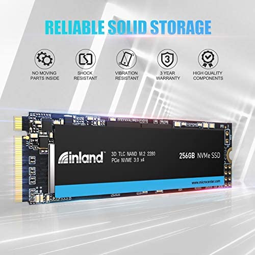Inland Professional 256GB NVMe SSD M.2 2280 PCIe Gen 3.0x4 three-D NAND Internal Solid State Drive, Read/Write Speed as much as 1,900/1,100 MB/s, PCIe Express 3.1 and NVMe 1.3 Compatible (256GB)