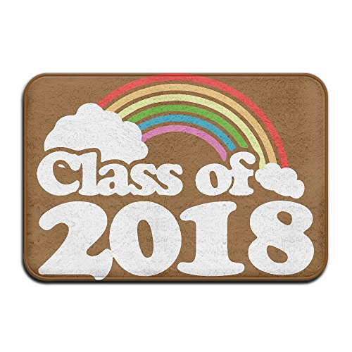 Class Of 2018 Retro Rainbow Indoor Outdoor Entrance Rug Non Slip Kitchen Rug Doormat Rugs For Home (Bath Memory Foam Rug Walmart)