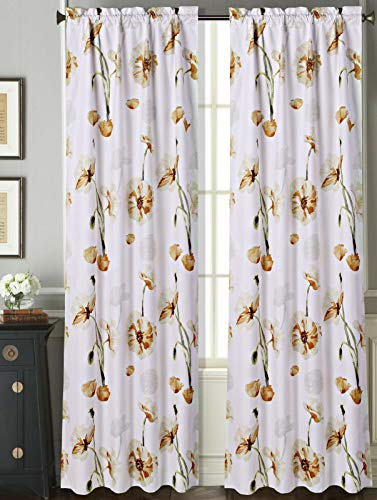 - 2 Rod Pocket Curtain Panels 63 Inches Long, Decorative Floral Print, Light Filtering Room Darking Thermal Foam Back Lined Curtain Panels for living/bedroom/patio door, DRP 63