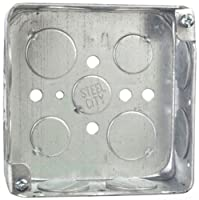 Steel City 52151-3/4W Pre-Galvanized Steel Square Box with 1/2-Inch and 3/4-Inch Knockouts