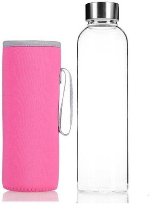 360ml Azul Aikesi Botella Agua Cristal Transparente Botella Agua Deporte con Antideslizante Aislamiento Cubierta Protectora Sin BPA