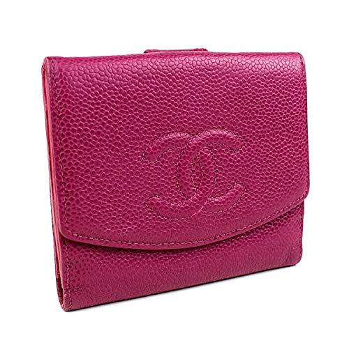 (シャネル) CHANEL 長財布 二つ折り財布 Wホック財布 キャビアスキン ローズ CHANEL i231 [中古]   B07L2KG2SX