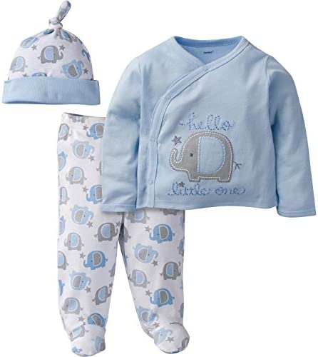 Gerber Baby Boys' 3 Piece Side Snap Mitten Cuff Shirt, Footed Pant and Cap